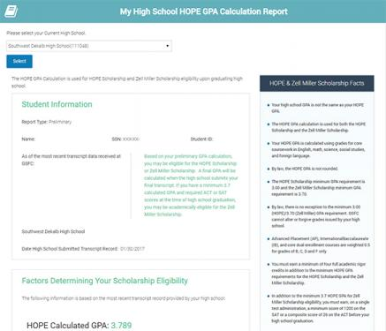 Screen capture image of the HOPE GPA Calculation on GAfutures.org